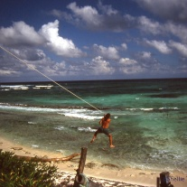 Home made zipline in Sian Ka'an Biosphere, Yucatan.